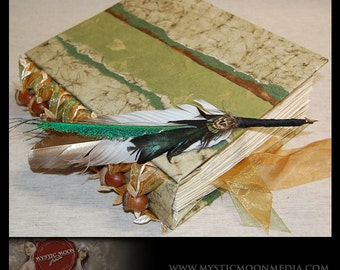 Greenwood Oak Book of Shadows - Patchwork -  REAL Acorn Beaded XL Handmade Journal -Sketch Book - Quill Pen...Guest Book -Refillable BOS