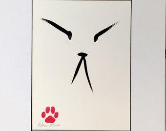 Zen Cat - Original Minimalist Brush and Ink Drawing by Drew Strouble CatmanDrew