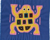 Fun and Fabulous Yellow Frog Mola -  Kuna Indian Reverse Applique