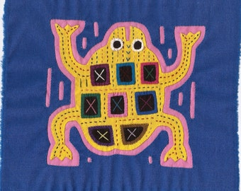 Fun and Fabulous Yellow Frog Mola -  Kuna Indian Reverse Applique
