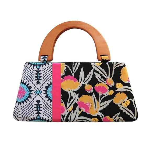 Boho handbag, African print bag, Floral handbag with handle, Black fabric purse, Handmade handbag, Wooden handle handbag, Floral purse