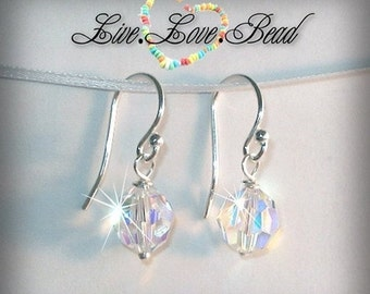ON SALE 15% OFF Sterling Silver Crystal Drop Earrings