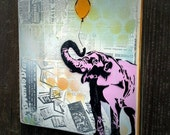 Pink Elephant Art Painting on Canvas Pop Art Style Original Artwork Stencil Urban Street Animal Art