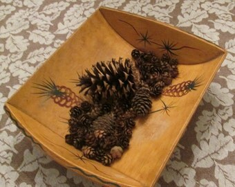 Vintage Wooden Bowl/ Basket - Christmas/ Holiday