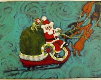Original acrylic painting SANTAS DACHSHUND  Sleigh HELPERS  signed 5 x 7 inch Christmas by Canadian Ellen Haasen