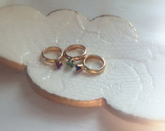 14K Gold Plated over Sterling Silver Mothers, Grandmothers Birthstone Baby Ring Add-on Charm - made to order