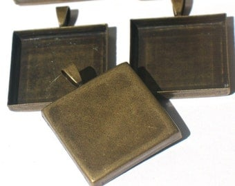 "Antique Bronze - 1"" Bezel Pendant Blanks w Bails"