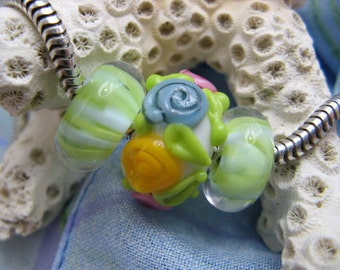 BHB Lime Stripes and Yellow, Blue, and Pink Floral big hole bead set