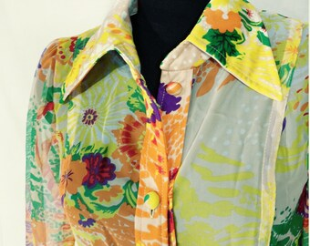 NOS VINTAGE Designer Maxi Dress1960s- 1970s J.P. ALLEN- Mod floral chiffon Fabric- Atlanta Store-New w Tags Size 10