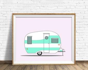 Vintage Shasta, 1954 - drawing, art print, vintage camper, vintage trailer, mid century modern, large art, large wall art, contemporary, art