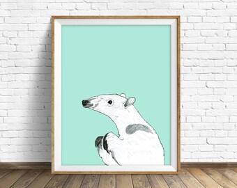 "anteater, anteater print, wall art, art print, large art, large wall art, pastel color, nature prints, woodland nursery, animal - ""Anteater"""