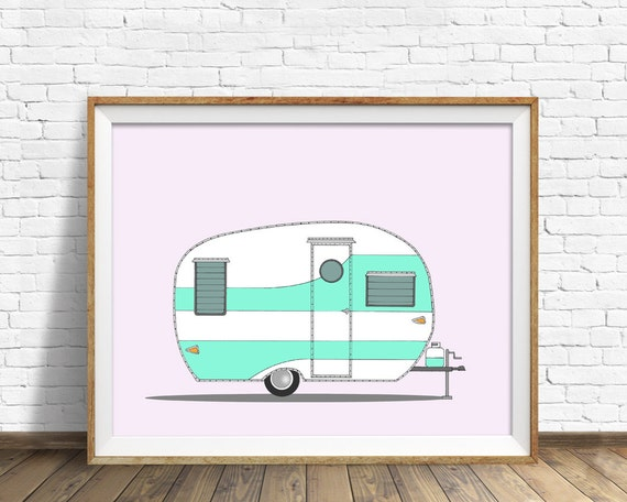 Vintage Shasta, 1954 - drawing, art print, vintage camper, vintage trailer, mid century modern, large art, large wall art, contemporary, art