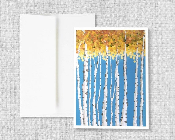 Turning Point - greeting card, blank greeting card, greeting card set, aspen trees, fall aspen trees, fall leaves, blue, orange, cards, art