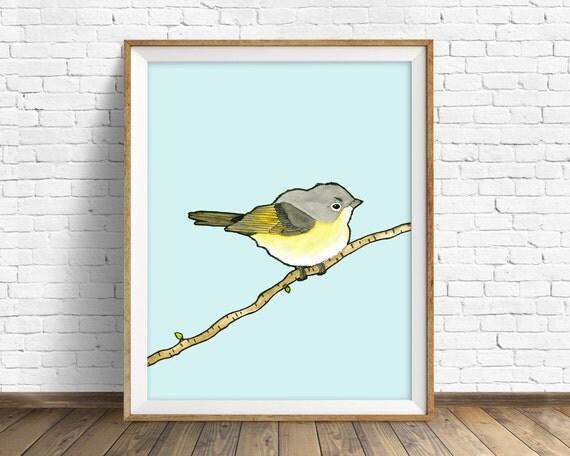 American Redstart - bird, drawing, watercolor, yellow, blue, art print, wall art print, large wall art, animal art print, woodland wall art