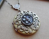 Fireworks, Vintage Locket with 1800's Button