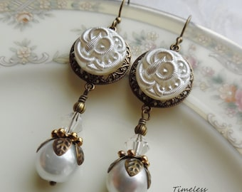 White Hydrangea, Vintage Glass Button Earrings