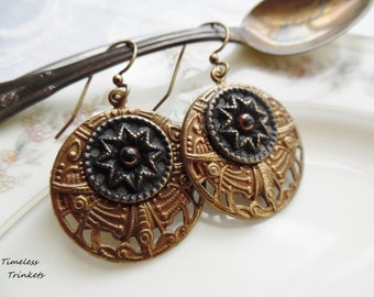 Carrington, Antique Button Earrings