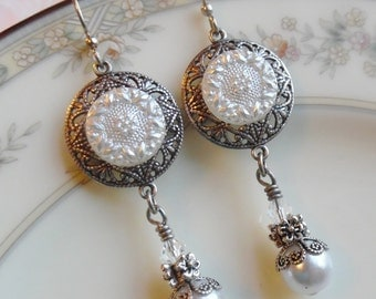 Diamond Snow, Vintage Glass Button Earrings