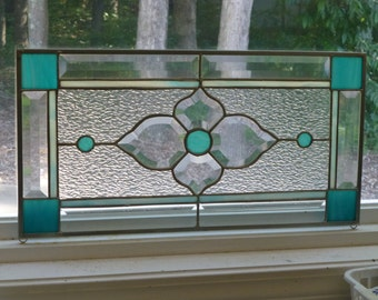 Beautiful Aqua! Stained glass and Beveled Transom!