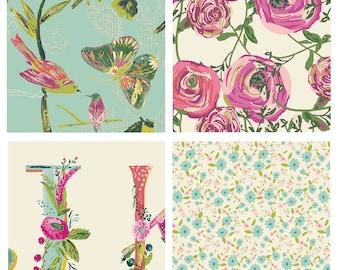 4 FABRIC QUILTING BUNDLE - Joie de Vivre - Art Gallery - Bari J. - Quilting Fabric with the Alphabet - Birds Butterflies Roses Pink Mint