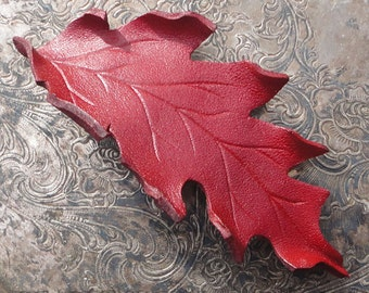 Leather Hair Accessory  Scarlet Oak Leaf Barrette with French Clip