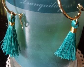 Tassel earrings *  Teal