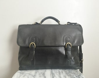 Charleston - Classic Double Buckle Black Leather Satchel.