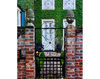 Charleston Art, South Carolina French Quarter Historic Downtown Southern Charm Lowcountry Iron and Brick Ivy Gate Photo Print Poster Rustic