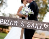 Rustic Wedding Sign on a Stake... His and Her Names. SAVE THE DATE Sign. Eco Wedding Decor. Country Weddings.
