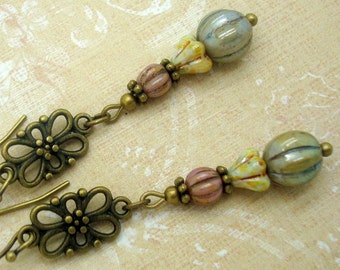 Rustic Earrings in Pink, Green and Cream with Brass Connector