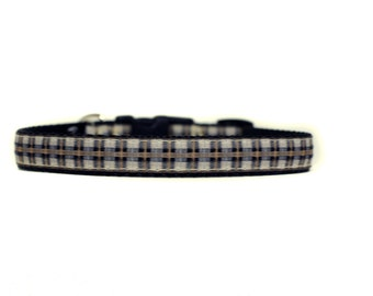 5/8 or 3/4 Inch Wide Dog Collar with Adjustable Buckle or Martingale in Tan Plaid