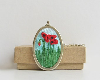 Red poppies necklace, August birthday gift, silk ribbon embroidery jewelry, floral necklace, gardener's gift, botanical jewelry