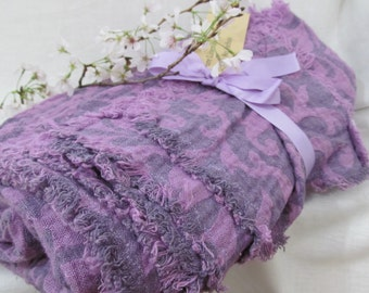 """100% Flax Blanket Linen Throw, Violet/ Purple, Lilac, Picnic Cloth, Bunk Bed, spread, summer throw, reversible, 50 x 80"""" fringed edges"""