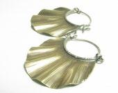Bronze Ruffle Earrings, Mixed Metal Earrings, Contemporary Earrings, Hoop Earrings, Ruffle Hoops, Artisan Jewelry, Metalsmith Earrings