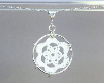 Peony doily necklace, white silk thread, sterling silver