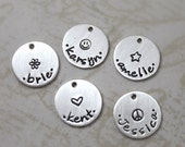 Inspirational, Tiny custom sterling silver name charm with center design, hand stamped personalized charm, custom name, handmade
