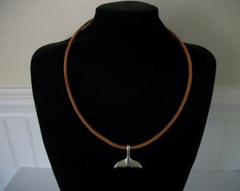 Men's Whale Tail Leather cord Necklace