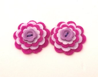 Shades of Purple Felt Flower Embellishments, Headband Decoration, Trinket Box, Scrapbook Flowers, Card Embellishment