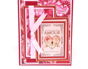 Amour Valentine's Day Card, French Valentine Card, Love Card, Love in French Card, Hearts and Love Anniversary Card