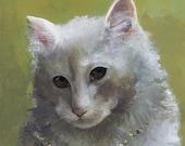 Rosebud- Cat Art, Kitty with Pearls, children, decor