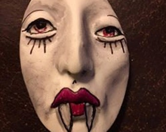Vampire clay face jewelry horror craft supplies Dracula fangs handmade  large man mask polymer findings doll parts head mask  tribal