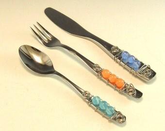 Beaded Hors'dourve Utensils/Appetizer Fork, Spoon, and Knife/Set of 3 Beaded Knife Fork and Spoon