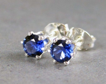 Sapphire stud earrings, blue sapphire earrings, lab sapphire studs, sapphire post earrings, blue gem stud, September birthstone earrings