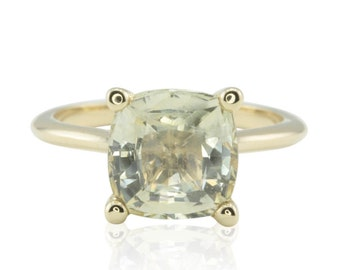 Sapphire Engagement Ring - 9mm Square Cushion cut Pale Yellow Sapphire Solitaire in 14k Yellow Gold - LS4555