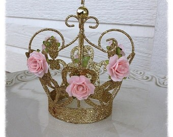 Birthday Decorations Shabby Chic Gold Crown for Birthday Decor Cake Topper
