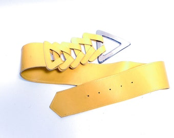 "Vintage Yellow Leather Wide Belt  // Triangle Buckle Belt // 30 - 35"" waist"