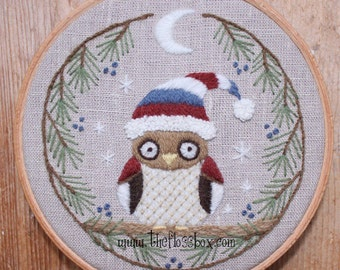 Winter Owl Crewel Embroidery Pattern