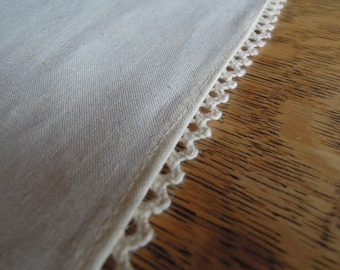 "Natural Hemp Table Runner with Lace, 14""x86"", Long, Pure, Washed Runner, Organic, Table Linens"