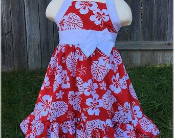 Hawaiian Girls Red White Luau Dress, Hawaiian Luau Summer Girls Hibiscus Flower Outfit, Custom Boutique Toddler Hawaiian Birthday Party,