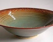 Large Wheel Thrown Bowl - Slip Trailed Decoration - Amber, Teal and Green